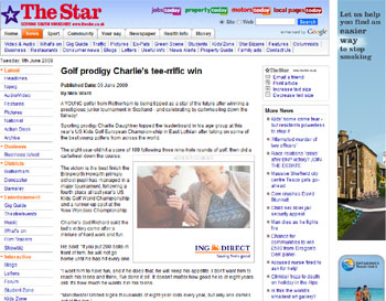 U.S. Kids Golf coverage in the South Yorkshire Star, courtesy of Scottish PR experts the Holyrood Partnership