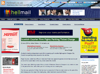 Eagle Couriers coverage in Hell Mail, arranged by Holyrood Partnership PR in Scotland