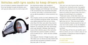 Eagle Couriers tyre sock coverage in Scots Auto Scene