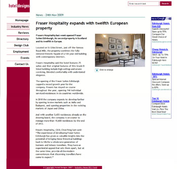 Fraser Suites Edinburgh coverage secured by Holyrood Partnership PR in Scotland