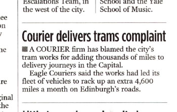 Eagle Couriers coverage in the Evening News, courtesy of Holyrood Partnership PR in Scotland