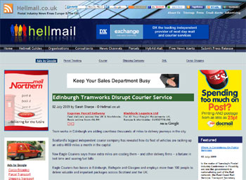 Eagle Couriers coverage in Hell Mail highlighted by Holyrood Partnership PR in Scotland