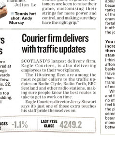 Eagle Couriers coverage in the Evening Times, highlighted by Holyrood Partnership PR in Scotland