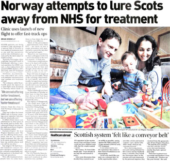 Medical tourism coverage in The Herald highlighted by Holyrood Partnership PR in Edinburgh