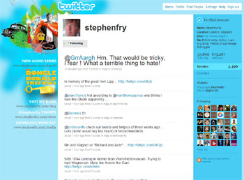 Stephen Fry is one of the most famous celebrity tweets