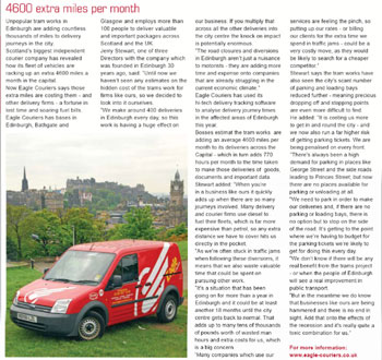 Eagle Couriers coverage in FACTS magazine, thanks to Holyrood PR PR in Scotland