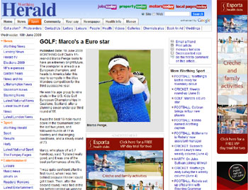 U.S. Kids Golf coverage in the Worthing Herald secured by Holyrood Partnership PR in Scotland