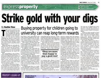 Braemore Property Management coverage in the Express, courtesy of Holyrood Partnership PR in Edinburgh