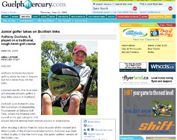 Holyrood Partnership PR in Scotland secures new U.S. Kids Golf coverage in the Guelph Mercury