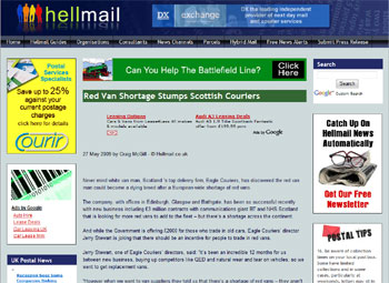 Eagle Couriers coverage in Hell Mail, courtesy of Holyrood Partnership PR in Edinburgh