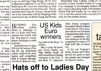 East Lothian Courier coverage of U.S. Kids Golf from Holyrood Partnership PR in Scotland