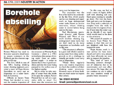 Borehold abseiling article