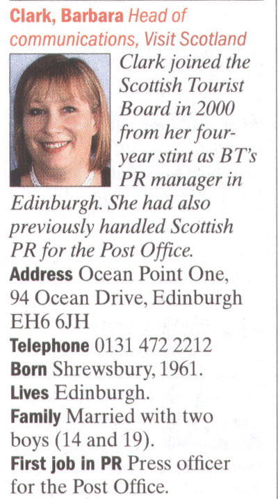 Barbara Clark of VisitScotland