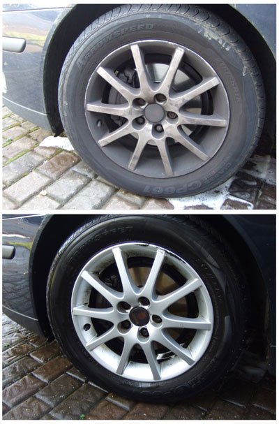 Fairy Liquid cleans car wheels