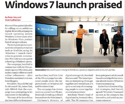 PR Week article on Windows 7