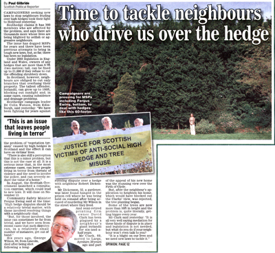 Daily Express Scothedge Article