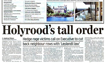 Scothedge coverage secured by Holyrood Partnership PR in Scotland