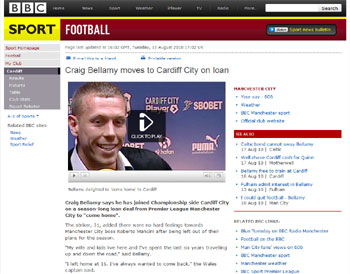 BBC coverage on Craig Bellamy appointment