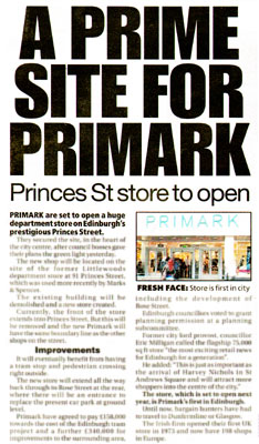 Primark Edinburgh features in Daily Record