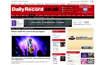 Prince coverage in Daily Record