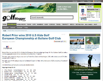 U.S. Kids Golf headlines secured by Holyrood Partnership PR in Scotland