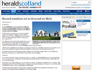 Edinburgh Mela coverage in The Herald