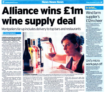 Alliance Wine headlines secured by Holyrood Partnership PR in Scotland