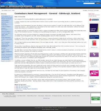 Cowiesburn Asset Management coverage secured by Holyrood PR PR in Scotland