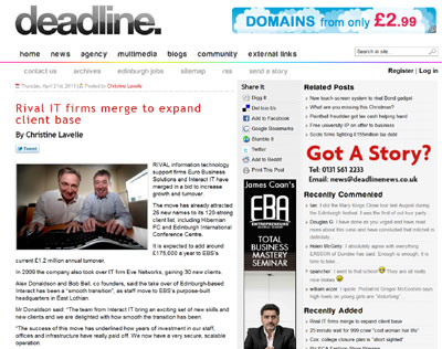 Euro Business Solutions on Deadline News website