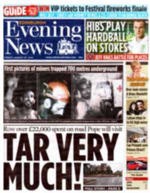 primakr on front page of edinburgh evening news
