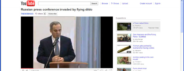 Flying dildo at Russian press conference
