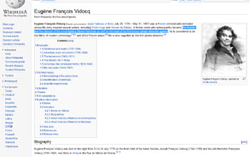 Wikipedia biography of Eugene Francois Vidocq. Seriously, the man was brilliant.