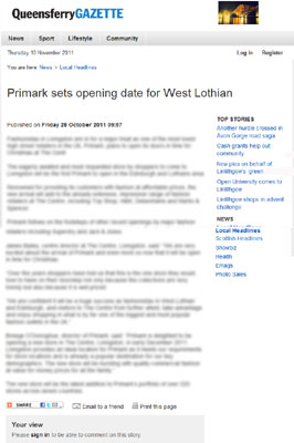 Primark Queensferry Gazette