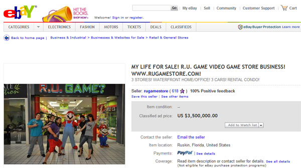 eBay page for American who is selling his entire life for over $3M