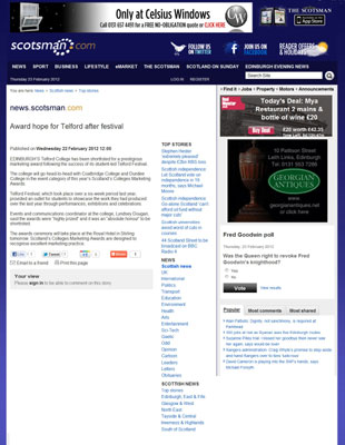Scotsman Edinburgh Telford College Marketing Awards