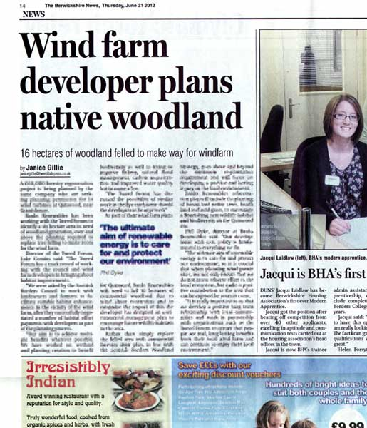Banks Renewables in Berwickshire News
