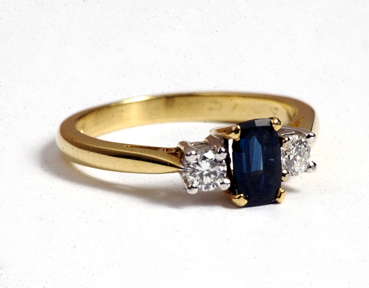An engagement ring set with an incredibly rare Scottish sapphire. PR photography