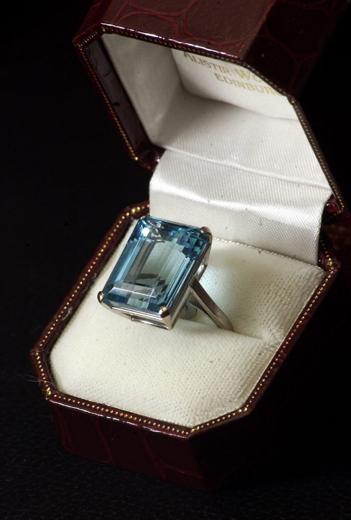 PR photography of aquamarines for Alistir Wood Tait antique and fine jewellery
