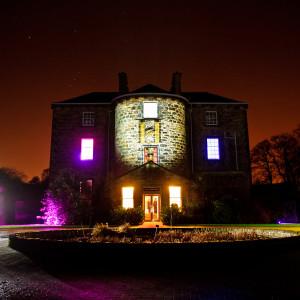 Scottish PR photography Inverleith House exterior lit up, Sodexo