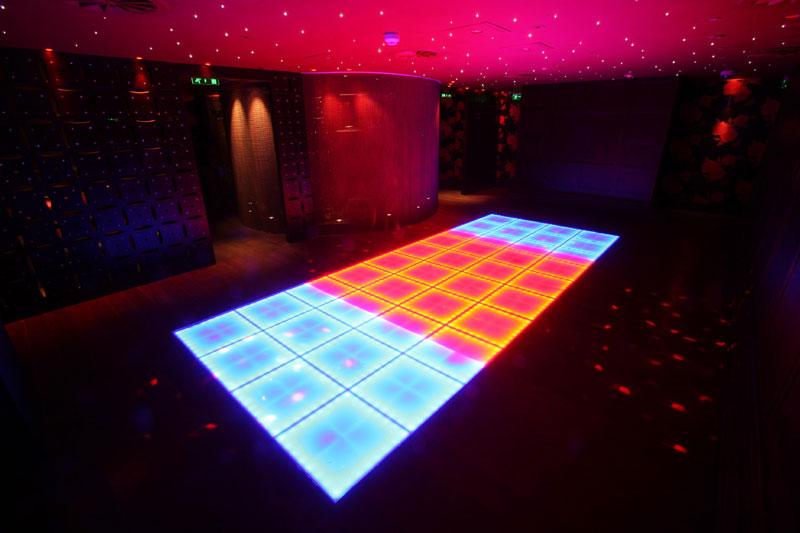 Food and Drink PR photograph of lush interior of Lulu vibrant dance floor underneath Tigerlily, Edinburgh