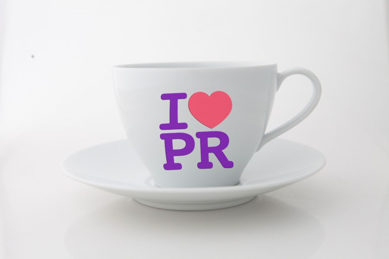 A teacup which says I love PR