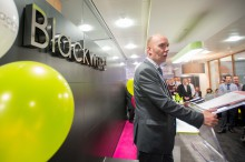 Stephen Gallagher, chairperson for Blackwood, makes his opening address at the launch of Blackwood's new office in Edinburgh