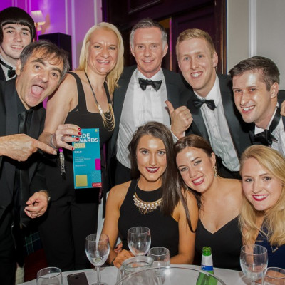 Staff at award winning PR agency Holyrood PR celebrate being named Scotlands Outstanding Small Public Relations Consultancy