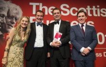 CALA Homes CEO Alan Brown accepting Scottish Business Award for Large Business of the Year for CALA Homes.