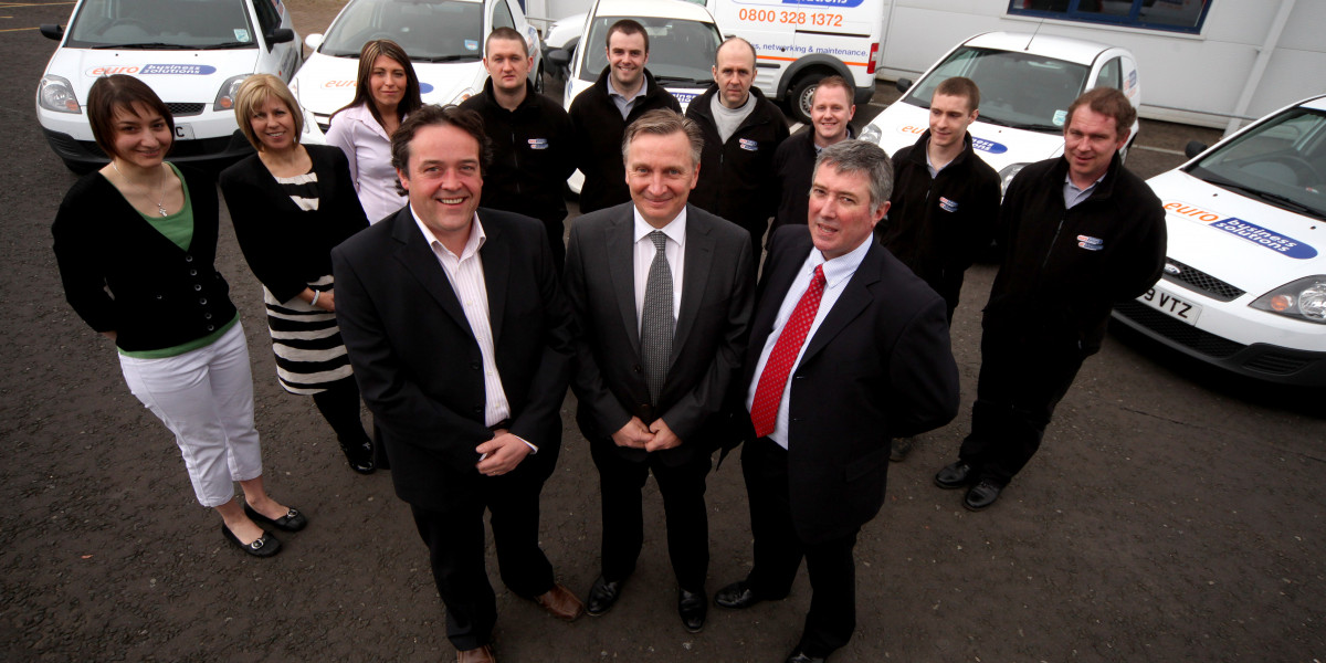 Scottish PR photography Euro Business Team with Directors outside their offices