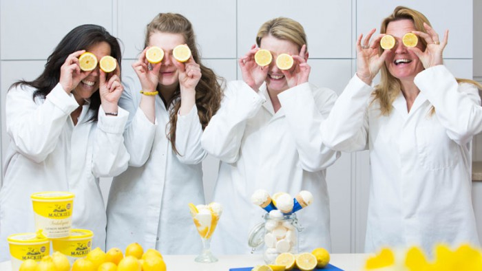 Mackie's employees hold lemons to eyes for Food and Drink PR story