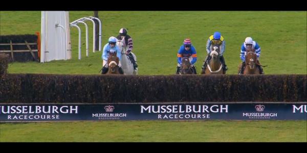 Last jump of Cheltenham trials 2017 at Musselburgh Racecourse.