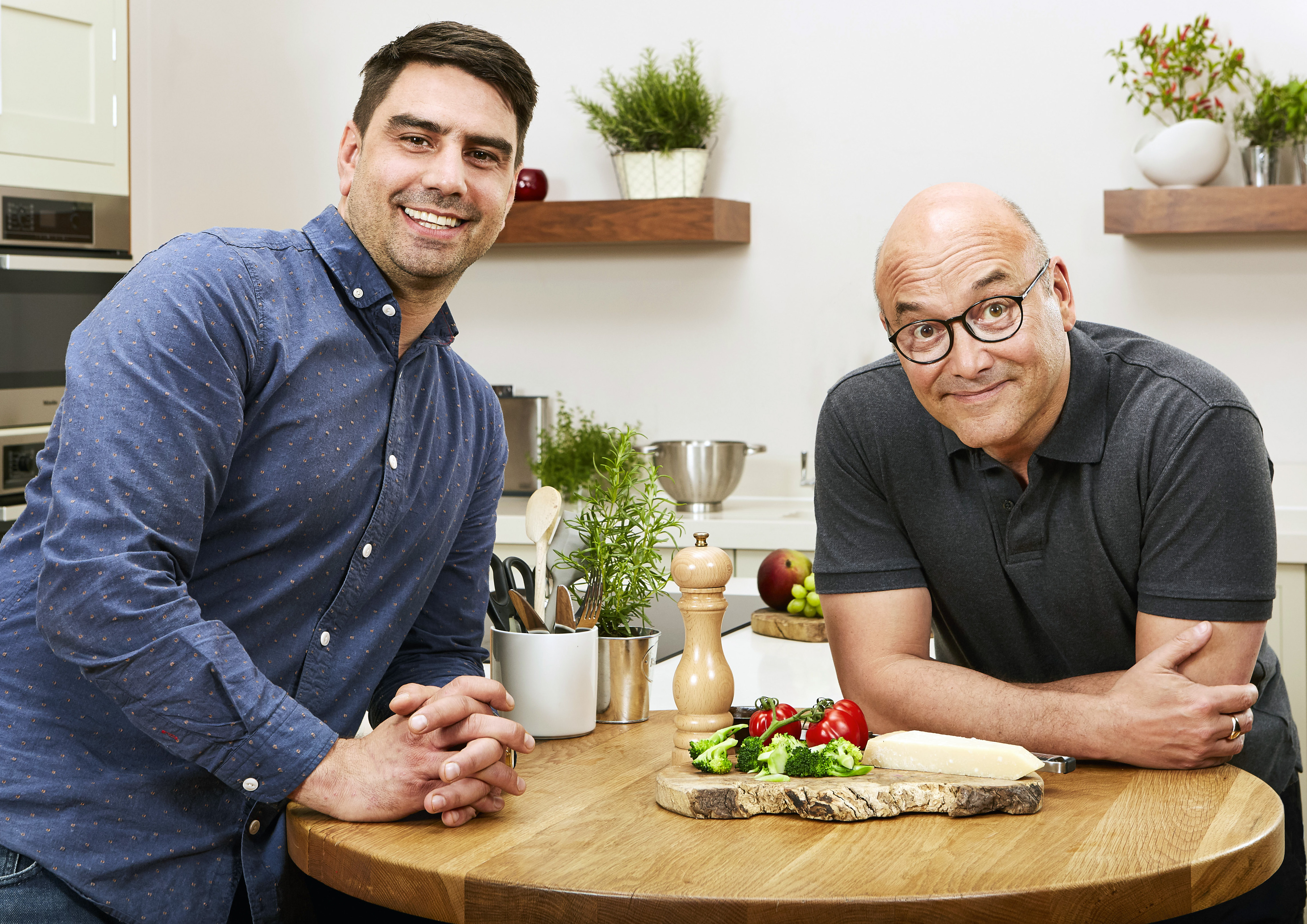 Chris Bavin and Gregg Wallace, presenters of Eat Well For Less? pose for Food and Drink PR story