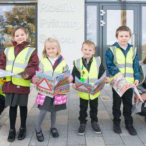 School kids pose for Edinburgh PR story