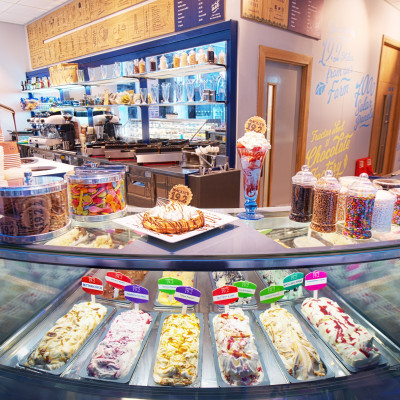 Food and drink PR photography of Mackie's Ice Cream Parlour in Aberdeen